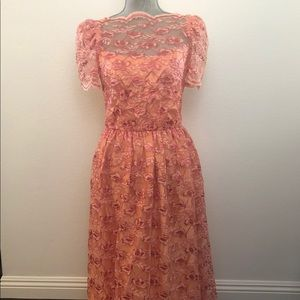 Vintage 1950s Coral Lace Evening Gown Prom Dress